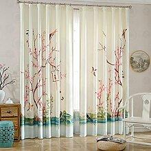 JINZA Dekoration Schlafzimmer Vorhänge Plain Zimmer Pflanze Muster Blackout Bleistift Falte Vorhang Jalousien Fenster Behandlungen Schutz für Schlafzimmer, 2m