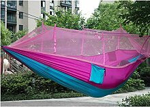 jinzhicheng Nylon Camping Moskitonetz Double Hängematte Hängen Bett Hängematte (Sky Blau + Pink)