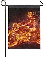 JIRT Yard Cartoon Feuer Skeleton Motorrad 28x40