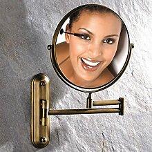 JIUCHANPIN Ausfahrbare schminkspiegel,Bad kosmetikspiegel Antiker spiegel Wc wand-spiegel falten Teleskop lupe auf beiden seiten-B