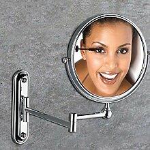 JIUCHANPIN Ausfahrbare schminkspiegel,Bad kosmetikspiegel Antiker spiegel Wc wand-spiegel falten Teleskop lupe auf beiden seiten-C
