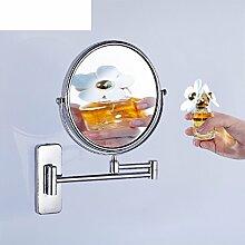 JIUCHANPIN Ausfahrbare Schminkspiegel,Bad Kosmetikspiegel Doppelseitige Wand Klappbare Spiegel Kupfer-Spiegel Kosmetikspiegel