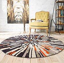 JIXIA Teppiche Weinlese-runder Teppich für große Wohnzimmer-geometrische Abstraktions-Muster-Boden-Matte, 80cm