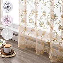 Jiyoyo Gardinen für Wohnzimmer, Blumenmuster,
