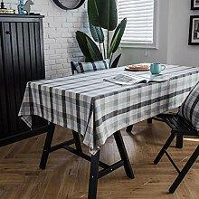 JJHR Tischwäsche Blau Kariertes Tischtuch