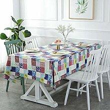 JJHR Tischwäsche Tischdecke Farbe Plaid Leinwand
