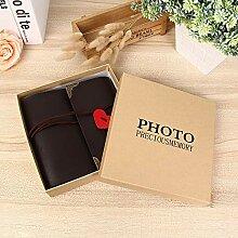 JJIAOJJ Fotoalbum Leder DIY Fotoalbum Paste Paar