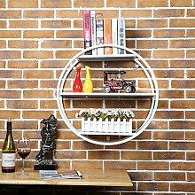 JJJJD Kreative Rundregal Eisen-Wand-Wandregal Bar