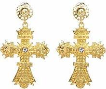 JJLESUN Gold Farbe Großes Kreuz Ohrringe Für