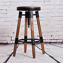 JJZY Amerikanische retro schmiedeeisen barhocker, kreative eisen massivholz bar rotierenden hebebank, hochstuhl, 2 größen ( größe : 31*33*45-63cm )