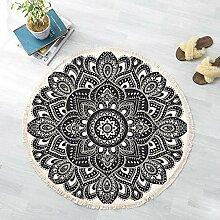JJZZ Runder Teppich mit Quaste Baumwolle Teppich