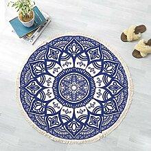 JJZZ Runder Teppich mit Quasten Baumwolle gewebten