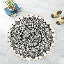 JJZZ Runder Teppich mit Quasten Baumwolle Teppich