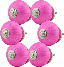 JK_6er_16005-E-R4-259 - pink - Möbelknopf Set Jay Knopf ® Möbelknauf Set Möbelknöpfe Set, Möbelgriff Set, Shabby Chic Vintage Retro Keramik Porzellan