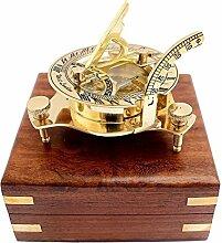 JK Deco Sonnenuhr Kompass mit Holzbox