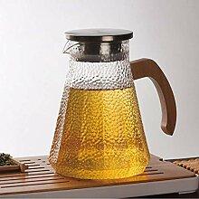 JKAD Glas Pitcherhammer Glas Kaltwasserflasche mit