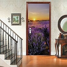JKXGJY Türaufkleber 3D Sonnenuntergang Lavendel