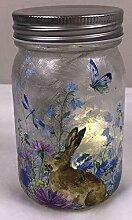 JL12 Glaslampe Hase und Blumen