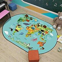 JLCP Ovale Kinderteppiche, Weltkarte