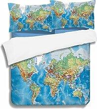 JLU 3D Bettbezug Globale Karte Bettwäsche