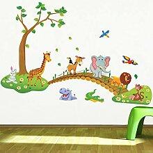 JLZK 3D Cartoon Dschungel Wildtier Baum Brücke
