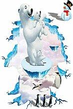 JLZK 3D Eisbär Pinguin Boden Aufkleber für