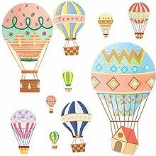 JLZK Cartoon Heißluftballon Wandaufkleber Für