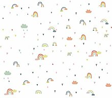 JLZK Cartoon Regenbogen Wolke Wandaufkleber