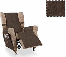 JM Textil Sesselschoner relax Larissa Größe 1 Sitzer (55 cm), Farbe Braun