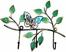 """JMM Wandmontage Haken Rack/Garderobe mit 3Heavy Duty Hat Haken, Schmetterling und Baum Blätter, metall, Weißer Schmetterling, 11""""L*9.4""""W*1.4""""H"""