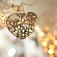 JnDee™ batteriebetrieben 2M 20er LED moroccan marokkanische Lichterkette Herz silber warmweiß Lich