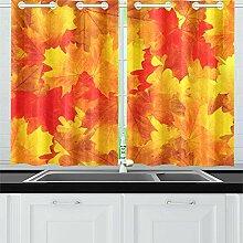 JOCHUAN Blätter Baum Ahorn Küche Vorhänge