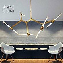 Joeyhome Moderner, minimalistischer Kunst Dekoration Zweig Pendelleuchten Lampen italienische Design Persönlichkeit Wohnzimmer Restaurant Lampen Lampen, Schwarz, 6 Köpfe