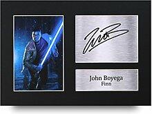 John boyega Signiertes A4gedrucktem Autogramm Druck Star Wars Finn Foto Bild Display–tolle Geschenkidee