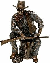 John Wayne Sitting On Log Bronze Statue - 51284