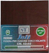 Joli Paar Kissenbezüge mit 3Knöpfen 100% Baumwolle Größe cm 50x 80–21Farben–Made in Italy 57Fäden pro cm² braun