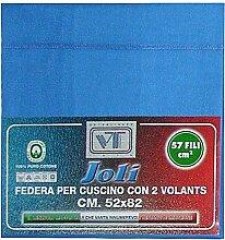 Joli Paar Kissenbezüge mit 3Knöpfen 100% Baumwolle Größe cm 50x 80–21Farben–Made in Italy 57Fäden pro cm² Avio