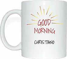 JOllify CHRISTIANO Kaffeetasse Tasse Becher Mug M5228 - Farbe: weiss - Design 7: Good Morning - Guten Morgen