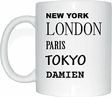 JOllify DAMIEN Kaffeetasse Tasse Becher Mug M5248 - Farbe: weiss - Design 2: New York, London, Paris, Tokyo