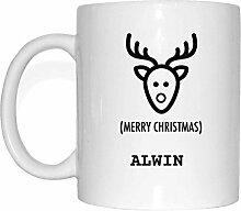 JOllify Geschenk für ALWIN Tasse Becher Mug Weihnachten MX5114 - Farbe: weiss - Elch Weihnachtselch