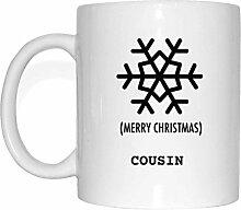 JOllify Geschenk für COUSIN Tasse Becher Mug Weihnachten MX6089 - Farbe: weiss - Schneeflocke
