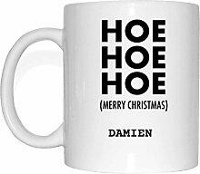 JOllify Geschenk für DAMIEN Tasse Becher Mug Weihnachten MX5248 - Farbe: weiss - Hoe Hoe Hoe