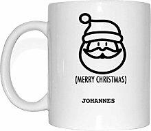 JOllify Geschenk für JOHANNES Tasse Becher Mug Weihnachten MX5501 - Farbe: weiss - Santa Claus Weihnachtsmann