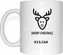 JOllify Geschenk für KILIAN Tasse Becher Mug Weihnachten MX5566 - Farbe: weiss - Elch Weihnachtselch