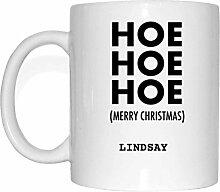 JOllify Geschenk für LINDSAY Tasse Becher Mug Weihnachten MX5639 - Farbe: weiss - Hoe Hoe Hoe