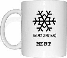JOllify Geschenk für MERT Tasse Becher Mug Weihnachten MX5765 - Farbe: weiss - Schneeflocke