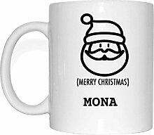 JOllify Geschenk für MONA Tasse Becher Mug Weihnachten MX5792 - Farbe: weiss - Santa Claus Weihnachtsmann