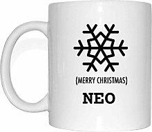 JOllify Geschenk für NEO Tasse Becher Mug Weihnachten MX5811 - Farbe: weiss - Schneeflocke