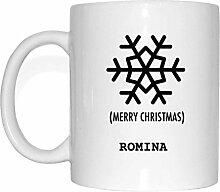 JOllify Geschenk für ROMINA Tasse Becher Mug Weihnachten MX5878 - Farbe: weiss - Schneeflocke