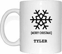 JOllify Geschenk für TYLER Tasse Becher Mug Weihnachten MX5997 - Farbe: weiss - Schneeflocke